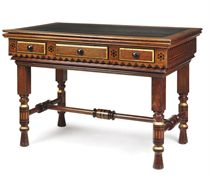 A VICTORIAN OAK, EBONY AND PARCEL-GILT LIBRARY TABLE