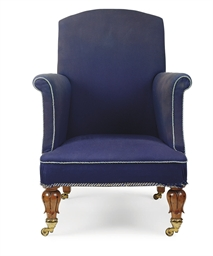 A GEORGE IV OAK EASY ARMCHAIR