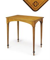 A REGENCY OAK AND EBONISED LINE-INLAID TABLE
