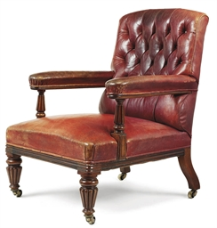 A GEORGE IV MAHOGANY AND LEATH