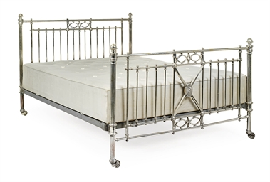 A VICTORIAN SILVER-PLATED BED