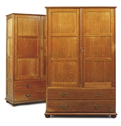 A PAIR OF OAK LINEN PRESSES