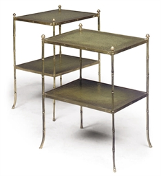 A PAIR OF LACQUERED-BRASS TWO-