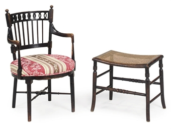 A REGENCY STAINED BEECH ARMCHA