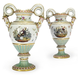 A PAIR OF MEISSEN VASES