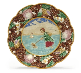 A GEORGE JONES MAJOLICA PLATE
