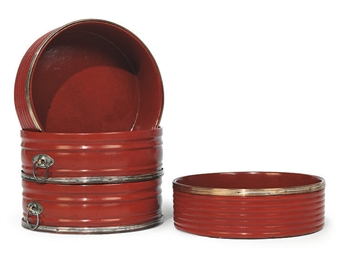 TWO PAIRS OF REGENCY RED-LACQU