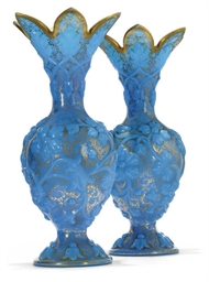 A PAIR OF TURQUOISE OPALINE GL