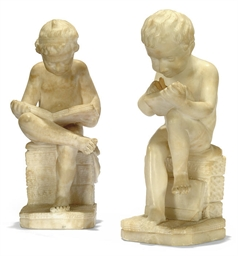 A PAIR OF ITALIAN ALABASTER MO