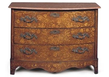 A FLORAL MARQUETRY BOWFRONT CH