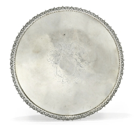 A LARGE GEORGE III SILVER SALV