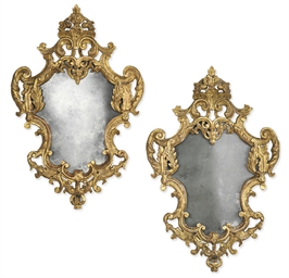 A PAIR OF VENETIAN GILTWOOD WA