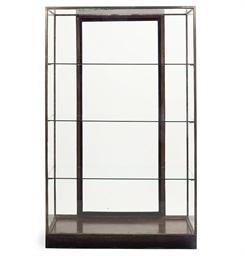 A BRASS-MOUNTED OAK AND GLASS