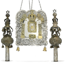 JUDAICA: A PAIR OF PARCEL GILT
