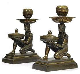 A PAIR OF REGENCY BRONZE CANDL
