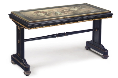 A SCAGLIOLA EBONISED AND PARCE