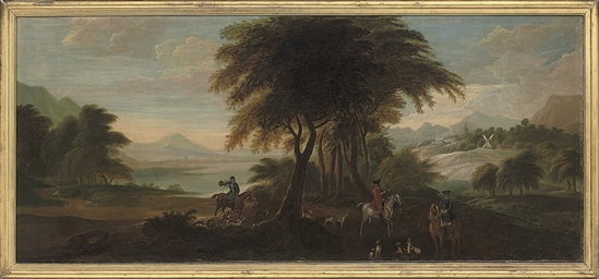 A wooded landscape with huntsm