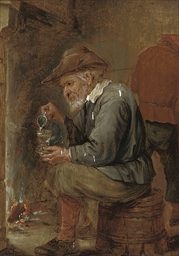 An old man pouring a glass of