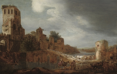 A river landscape with a sheph