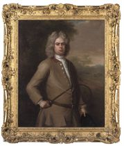Portrait of John Sutton, three-quarter-length, in a buff coat, holding a riding crop and hat, a country house beyond
