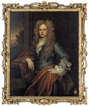 Portrait of William Clayton, 1st Baron Sundon of Ardagh (1671-1752), three-quarter-length, in a blue coat and rust wrap, his right arm resting on a plinth, a landscape beyond