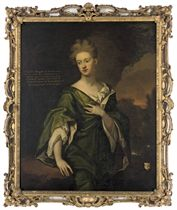 Portrait of Charlotte Clayton (d.1742), wife of William Clayton, 1st Baron Sundon of Ardagh (1671-1752), three-quarter-length, in a blue dress, a landscape beyond