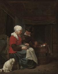 A couple seated in an interior
