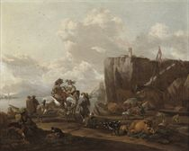 A coastal landscape with merchants on horseback, a drover loading cattle onto a boat, a town beyond