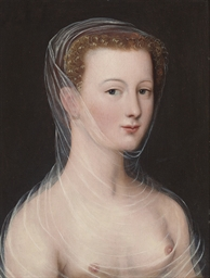 A lady, bust-length, in a gauz