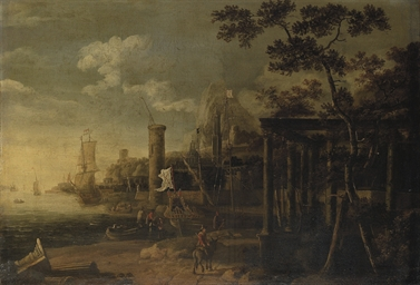 A capriccio of a harbour with