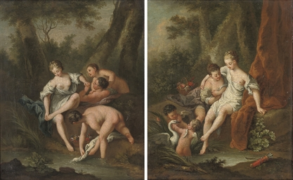 Diana bathing, attended by a n