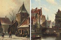 A winter street scene; and A Dutch canal scene
