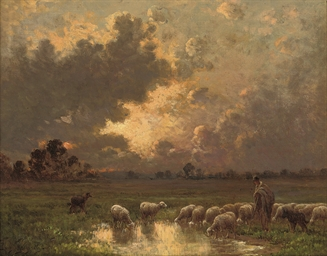 A shepherd watering his flock