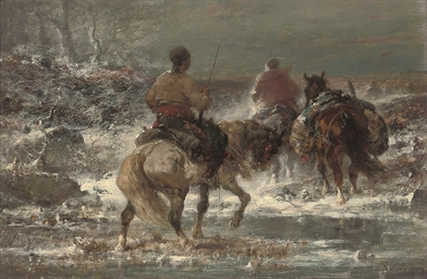 Cossaks in a winter landscape