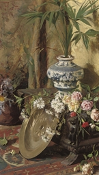 Still life with flowers, a sal