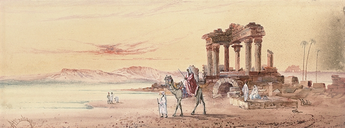 Arabs at the ruins on the bank