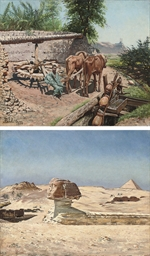 A camel train by the Sphinx at