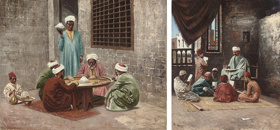 Arabs seated for a meal