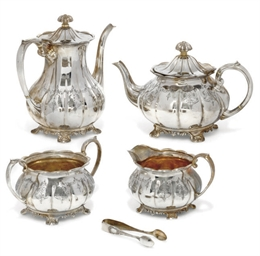 A MODERN SILVER FOUR-PIECE TEA