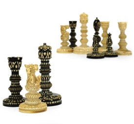 AN INDIAN IVORY CHESS SET
