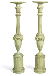 A PAIR OF VICTORIAN PAINTED PI