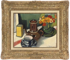 Cafetiere and flowers on a tab