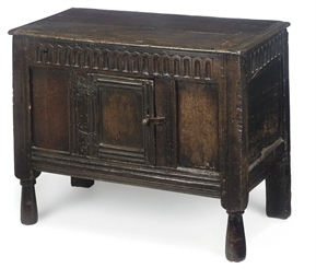 A CHARLES I OAK CUPBOARD