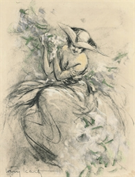 LOUIS ICART 'LADY WEARING A TR