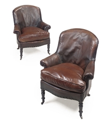 A PAIR OF VICTORIAN ARM CHAIRS