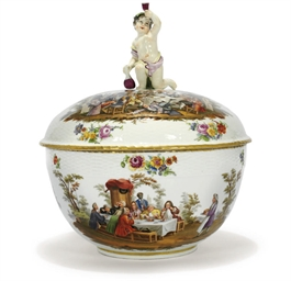 A BERLIN PUNCH BOWL AND COVER
