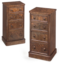A PAIR OF BURR WALNUT BEDSIDE