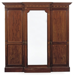AN EDWARDIAN MAHOGANY AND INLA