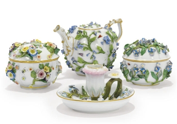 A GROUP OF MEISSEN FLOWER-ENCR