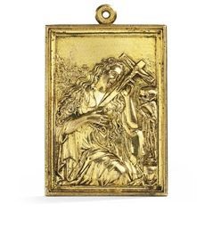 A RECTANGULAR GILT-BRONZE PLAQ
